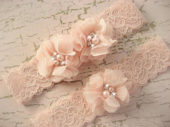 Свадьба - Hand Dyed Blush Wedding Garter Set with Toss Garter in Blush  , Bridal Garter with Chiffon Blossoms pearls and rhinestones