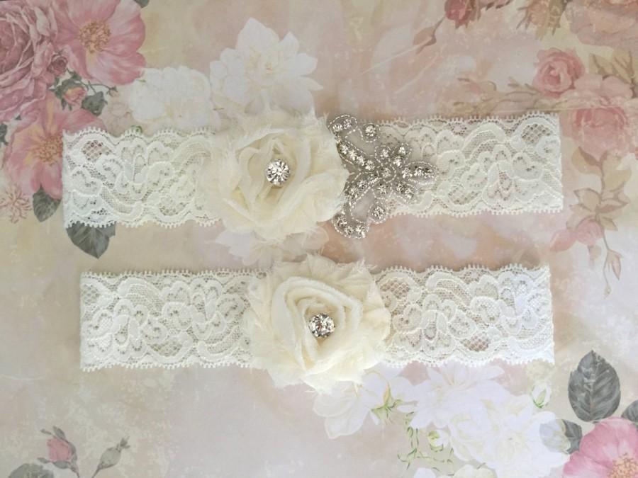 Свадьба - Plus Size Garter-Sale Garter-Sale Bridal Garter-Sale Wedding Garter-Rhinestone Garter-Chiffon Flowers Silver Rhinestone Applique Garter Set