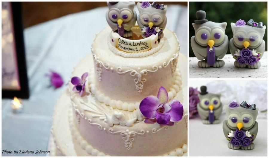 Свадьба - Owl purple wedding cake topper, love bird with PURPLE EYES, birdcage veil for bride, with banner