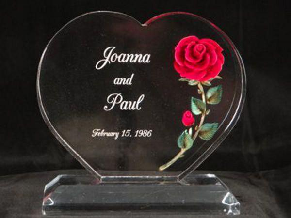 Mariage - Wedding Cake Topper- Clear lightweight acrylic cake topper personalized with a red rose with green leaves.