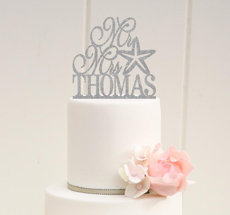 Wedding - Glitter Mr and Mrs Starfish Wedding Cake Topper with YOUR Last Name Beach Nautical Wedding Cake Topper