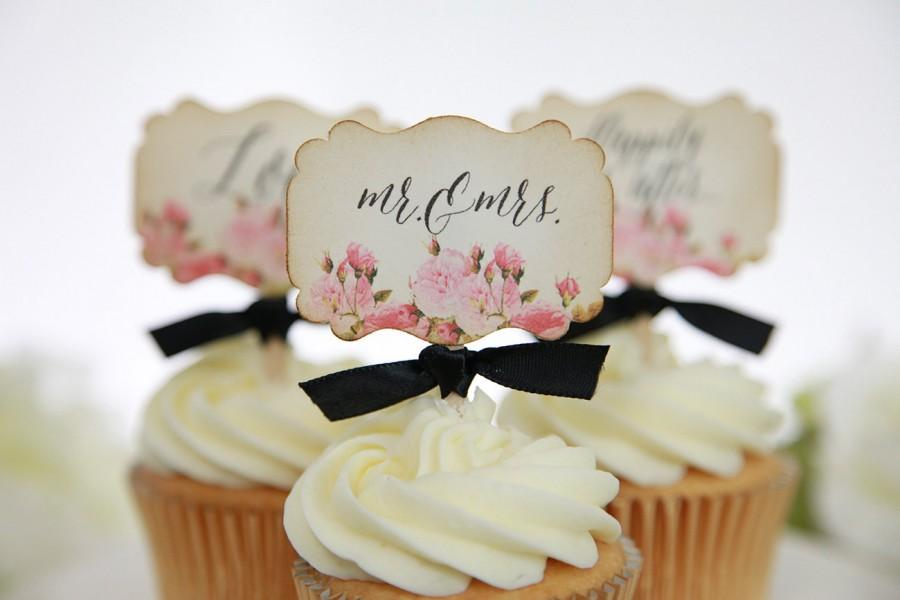Vintage Fl Wedding Cupcake Toppers Mr Mrs Love Hily Ever After Candy Table Decor