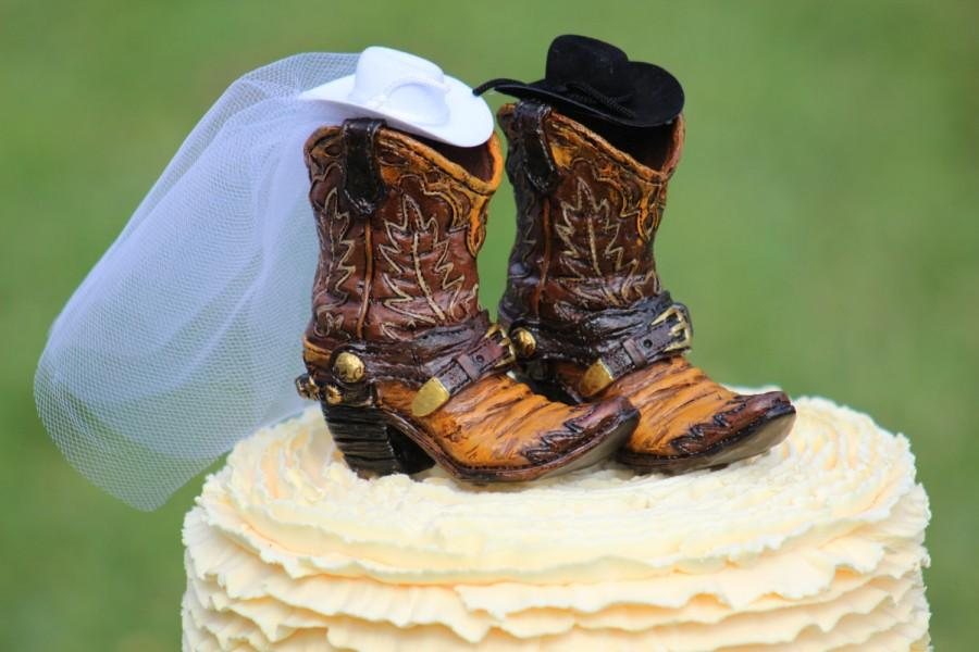 Wedding - Western Boot Cake Topper  -  shabby chic, outdoor, cottage chic