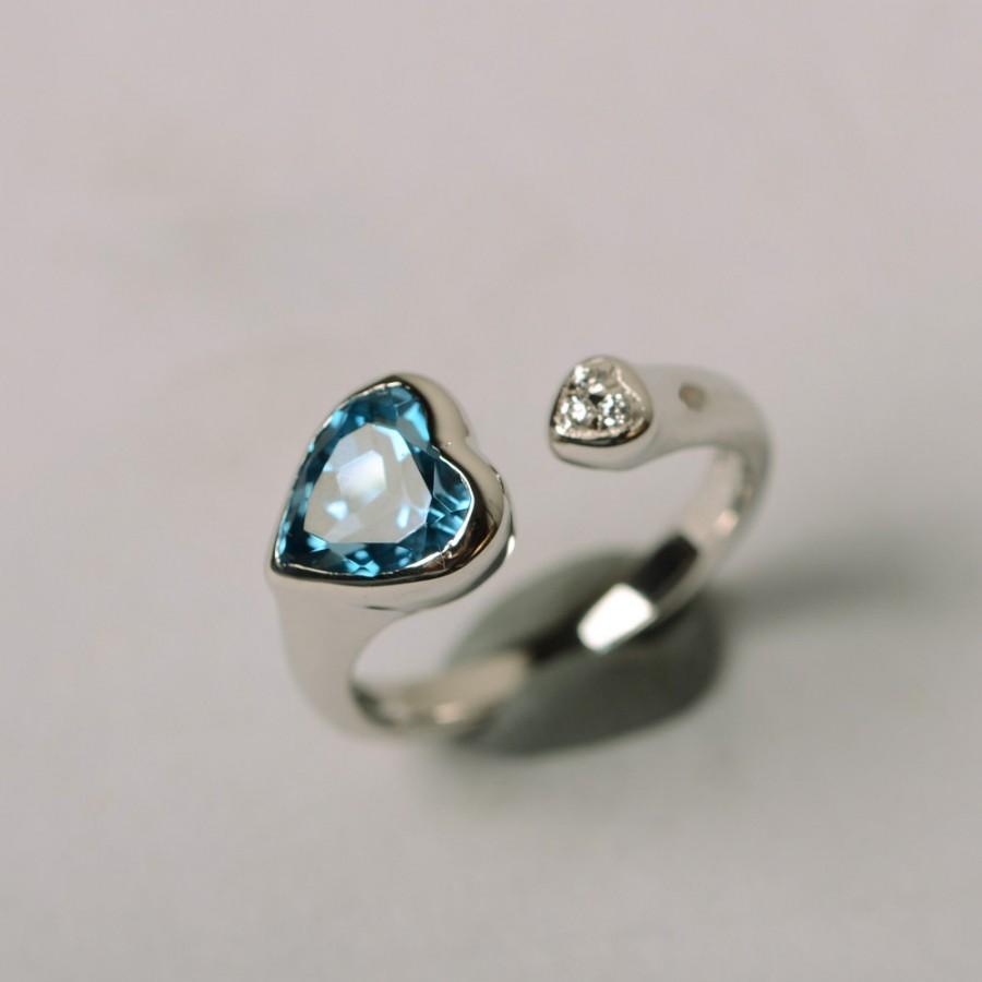Свадьба - London blue topaz ring heart shape gemstone ring sterlinger  silver ring white gold plated promise ring for her engagement ring
