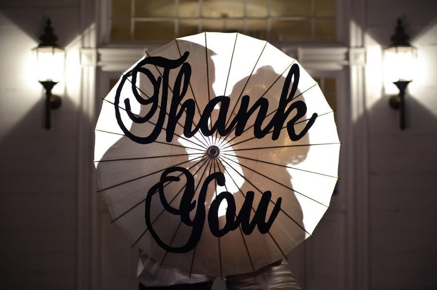 Свадьба - Large Brockscript Thank you handpainted parasol