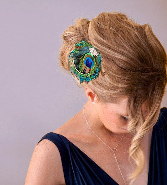 Свадьба - Bridesmaid Hair Accessories, Peacock Feather Hair Clip, Bridal Head Piece, Peacock Sword, Vintage Jewel - Made to Order - SANDY