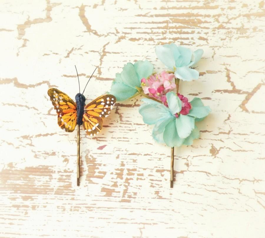 Hochzeit - Flower hair clips, butterfly bobby pins, teal floral hair pins, hair accessories by Gardens of Whimsy on Etsy