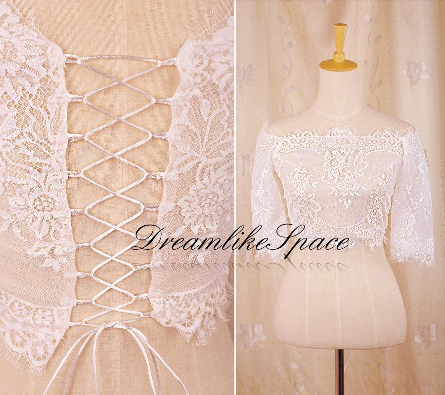 Свадьба - 1/2 sleeve bridal lace bolero,Gorgeous off the shoulder wedding jacket,Handmade eye lash lace bolero,Corset back bolero,Bridesmaid bolero
