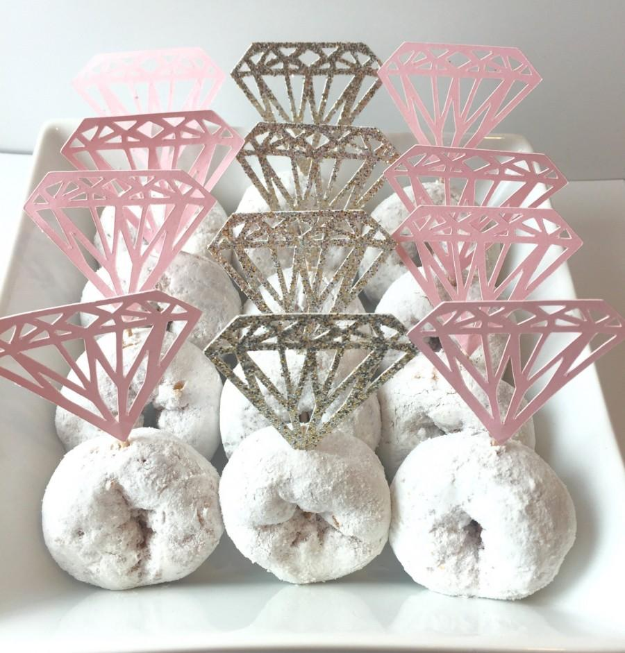 diamond cupcake topper donut toppers diamond shaped donut topper bridal shower decor diamond cupcakes