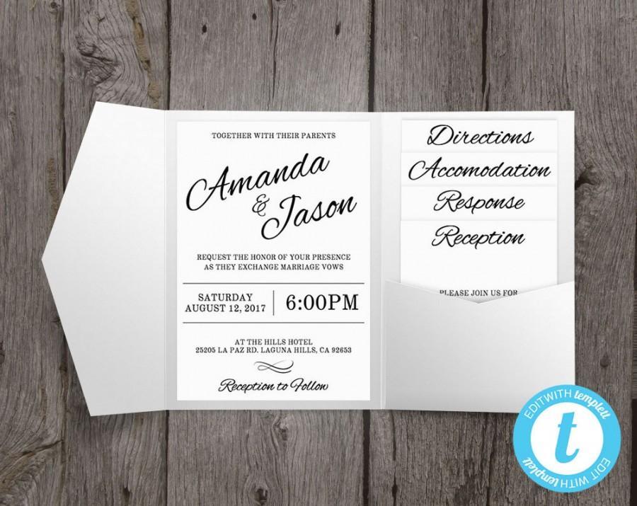 Pocket Wedding Invitation Suite Printable Wedding Invitation
