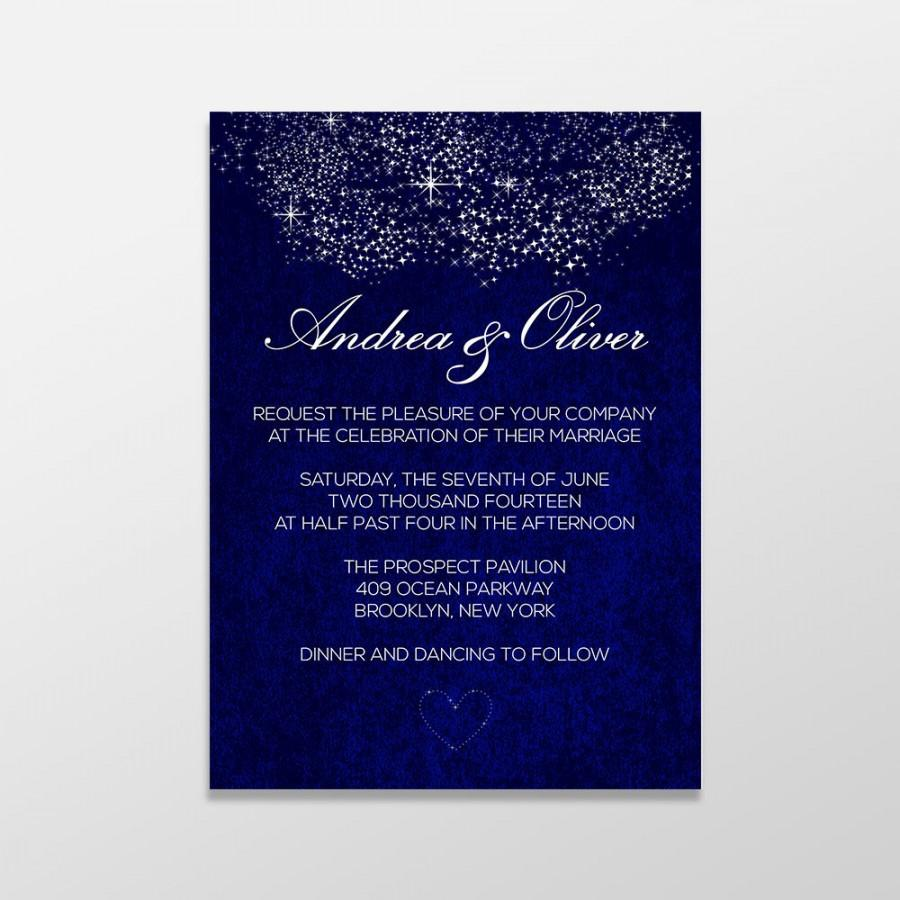 Custom Personalized Digital Wedding Invitation Formal Royal Blue