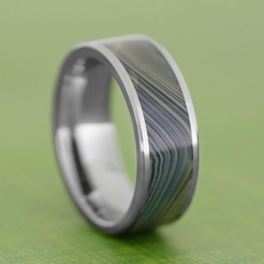 It is just an image of Agate Ring, Tungsten Wedding Band, Handmade Stone Ring, Men Or