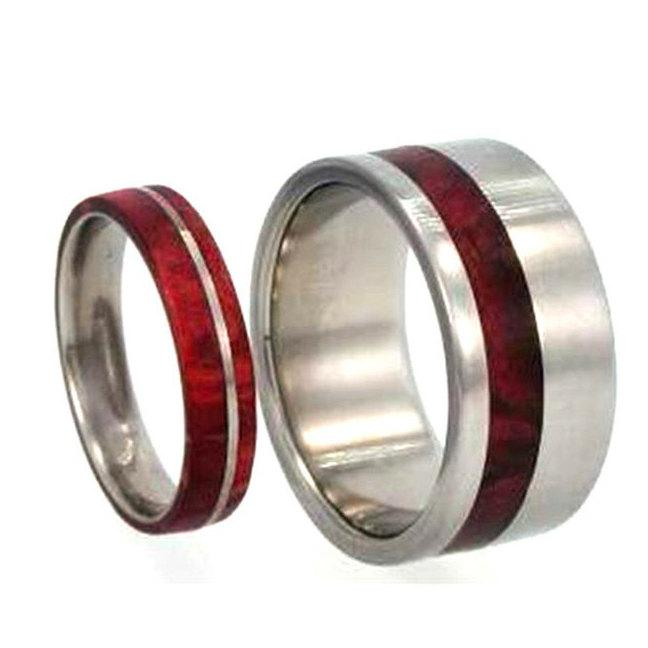 Wooden Wedding Band Set Titanium Rings With Redwood Mens
