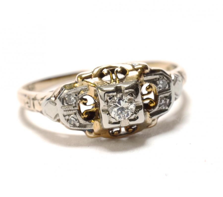 Mariage - Art  Deco 14K & Diamond Engagement Ring - Size 7
