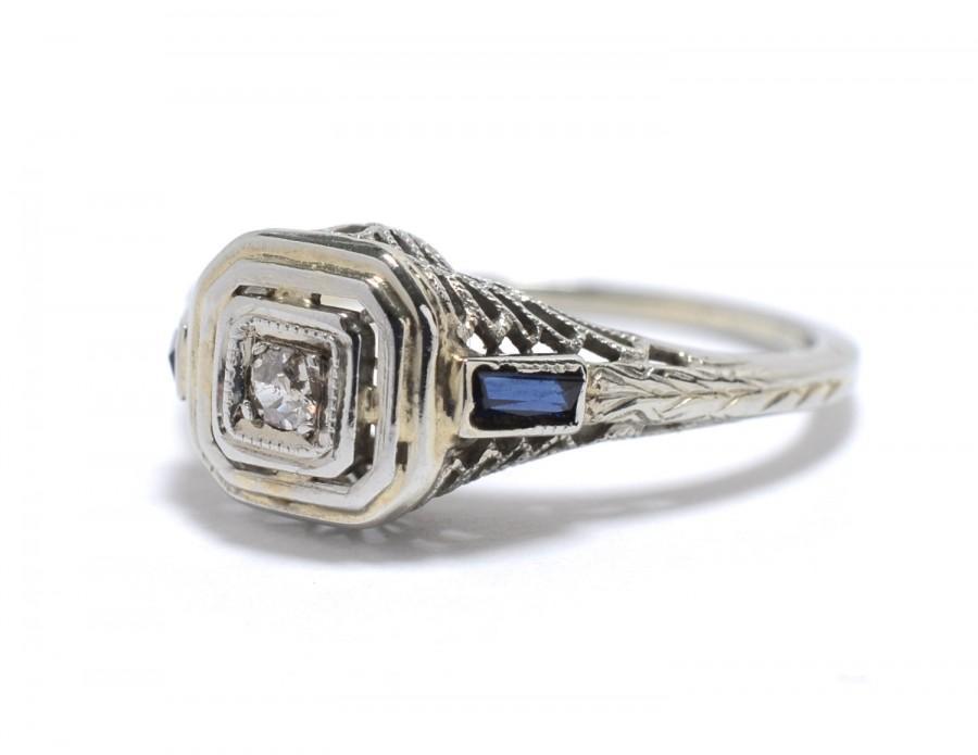 Wedding - Art Deco Diamond, Sapphire  and 18K White Gold Filigree Ring - Size 3.75