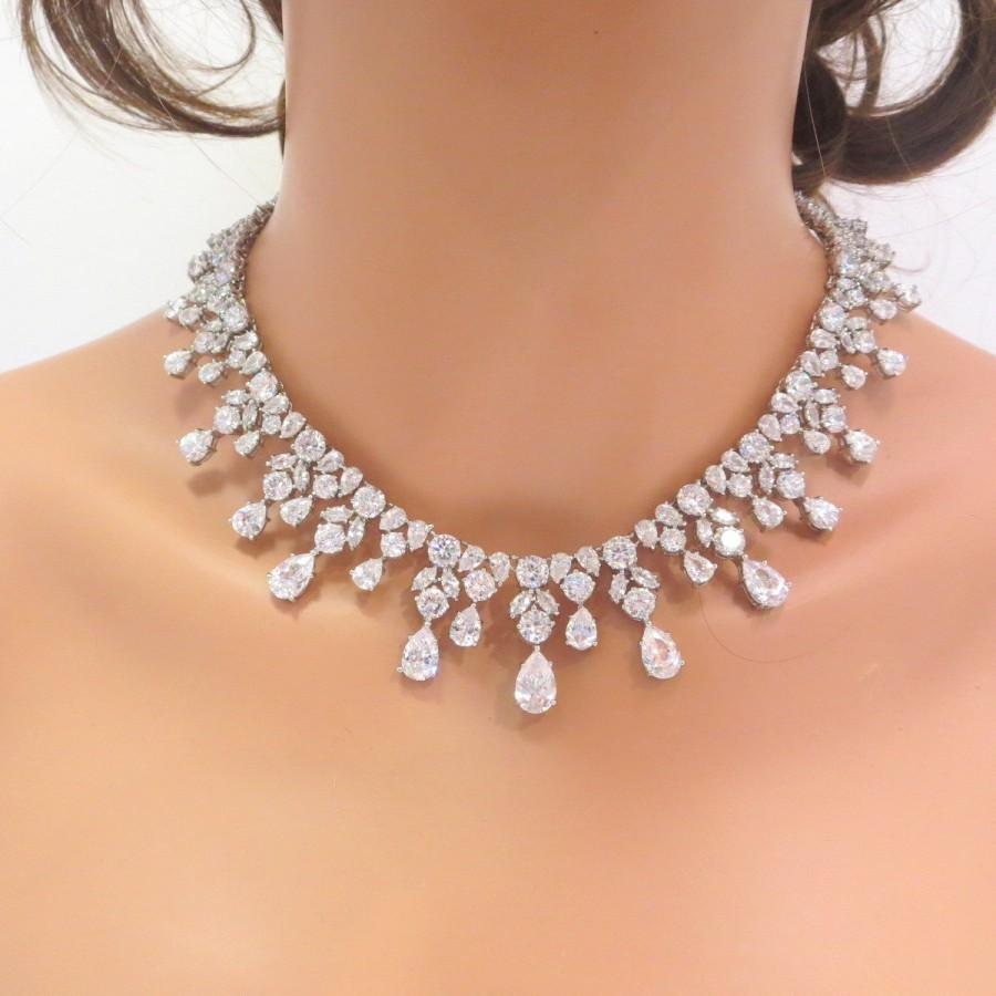 Bridal Statement Necklace And Earrings Wedding Set Jewelry Crystal Cubic Zirconia