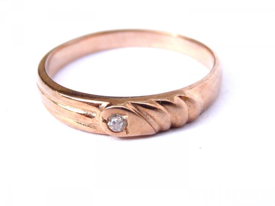Mariage - Vintage Band Ring 14K Gold Rose Diamond Art Deco Engagement Wedding 8.5