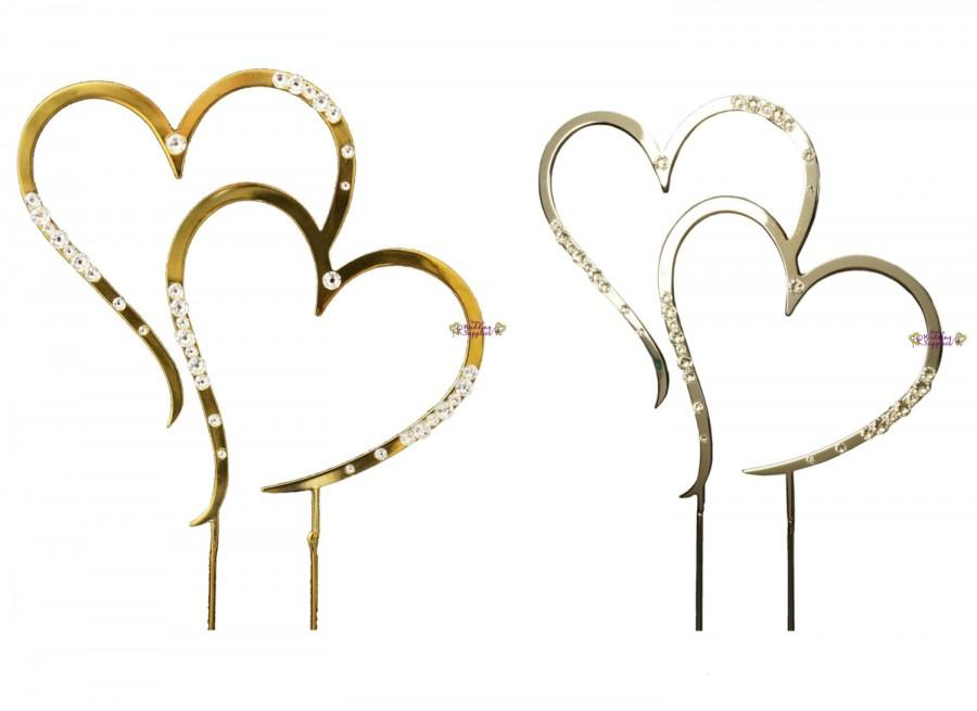 Silver or gold wedding cake topper heart diamante decorations silver or gold wedding cake topper heart diamante decorations supplies free postage australia wide junglespirit Choice Image