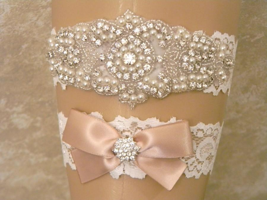 Свадьба - Wedding Garter, Wedding Garter Set, Bridal Garter, Pearl and Rhinestone Garter and Toss Garter, Lace Wedding Garter, 27 Satin Ribbon Colors