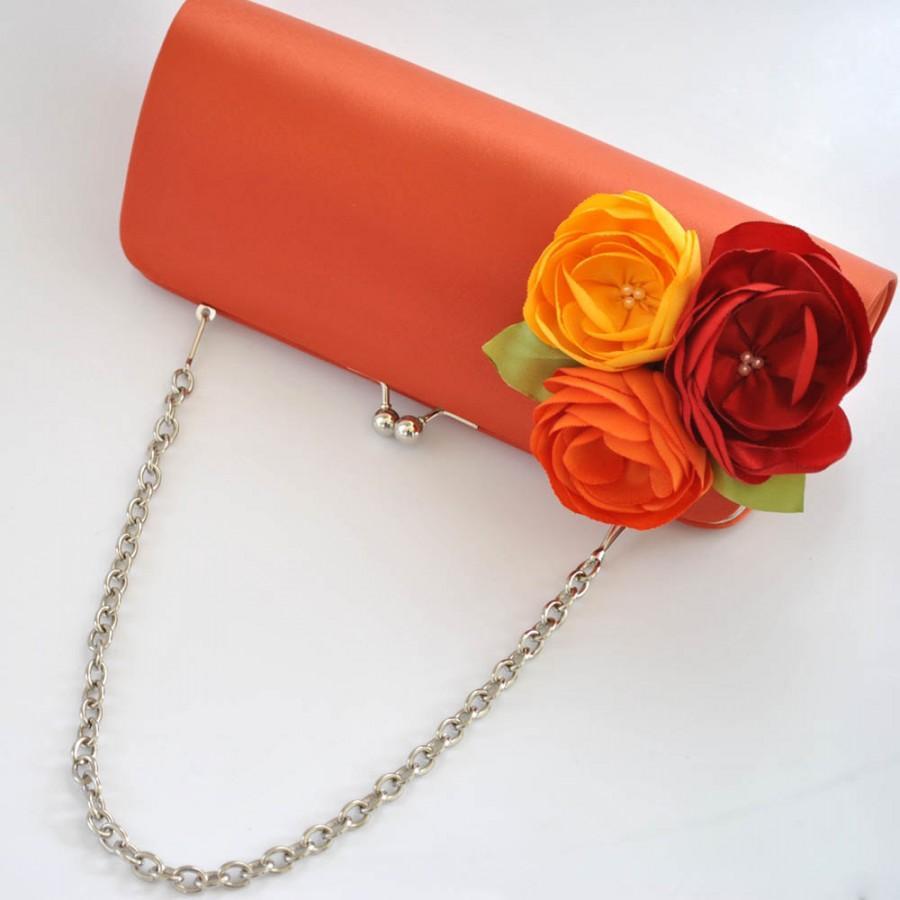 Hochzeit - Fall Wedding - Burnt orange_Bright Red_Orange_Dandelion Yellow - Custom clutch - Wedding clutch - Large clutch