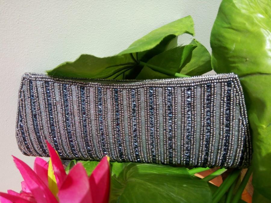 Свадьба - Beaded Gray clutch, Gray Wedding Clutch, Beaded Bag, Beads Clutch, Beaded Pocket book, bridesmaids clutch, Unique Clutch, Corde bag