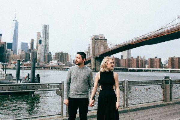 Wedding - Striking Brooklyn Bridge Engagement Session