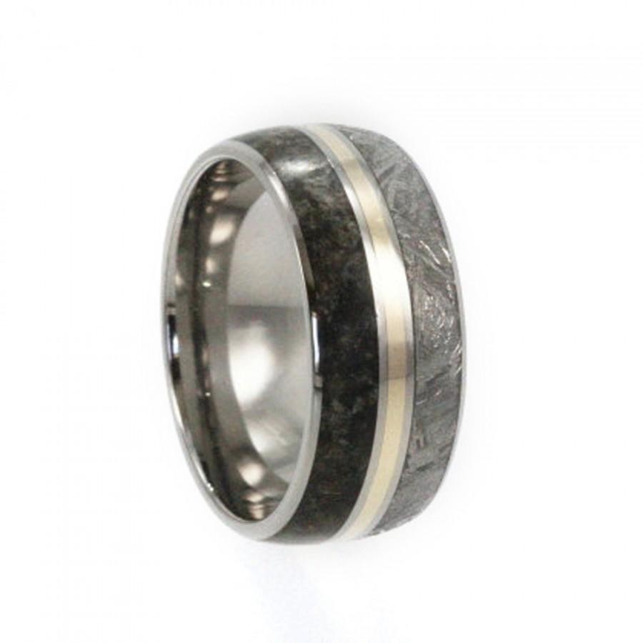 meteorite pin bone dinosaur wedding band titanium rings and