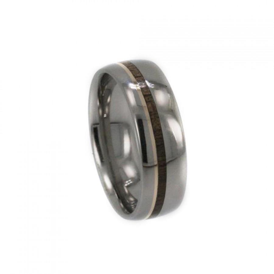 Mariage - Titanium Mangagement Ring, Bocote Wood Pinstripe, 14K Yellow Gold Pinstripe, Ring Armor Included