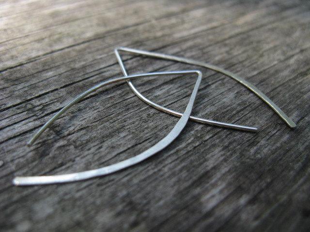 Mariage - Minimalist earrings, silver leaf modern open earrings, small wishbone earrings, simple line in silver or gold brass