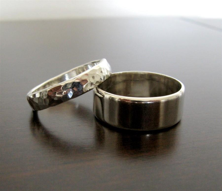Mariage - His and Her Flat Edge Wedding Band Set // Sterling Silver Contemporary Rings // Custom Made in Your Size