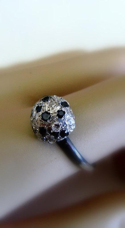 Mariage - Handmade Jewelry - Engagement Ring -  Oxidizes Silver Ball Ring with Onyx & Zirconia - Eco Friendly Jewlery - by Amallias