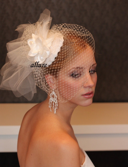 Hochzeit - BIRD CAGE VEIL. Bridal hat with birdcage veil and lace and flower. Charming fascinator. Wedding hat with veil