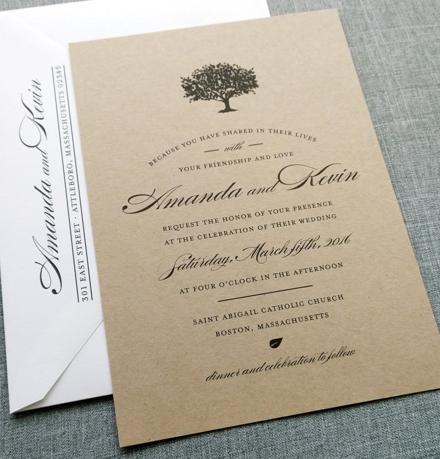 Hochzeit - Amanda Charcoal Tree Recycled Kraft Wedding Invitation Sample - Rustic Wedding Invitation