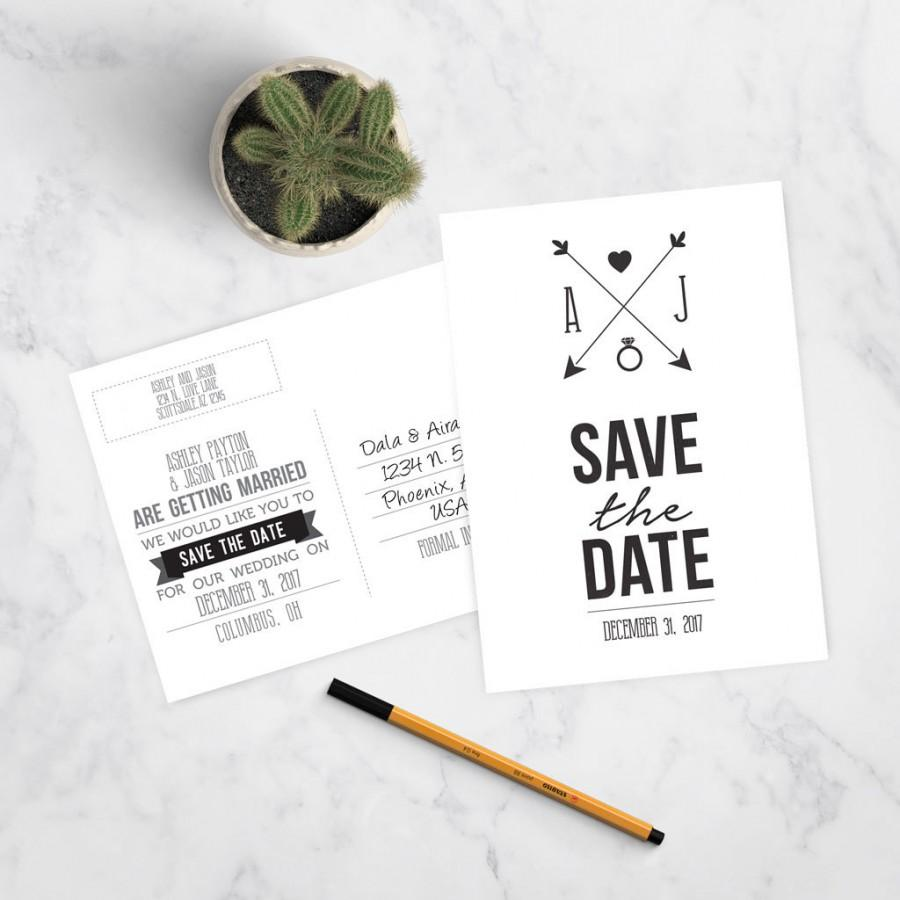 Hochzeit - Modern Save the Date Postcard - Customizable - Printable