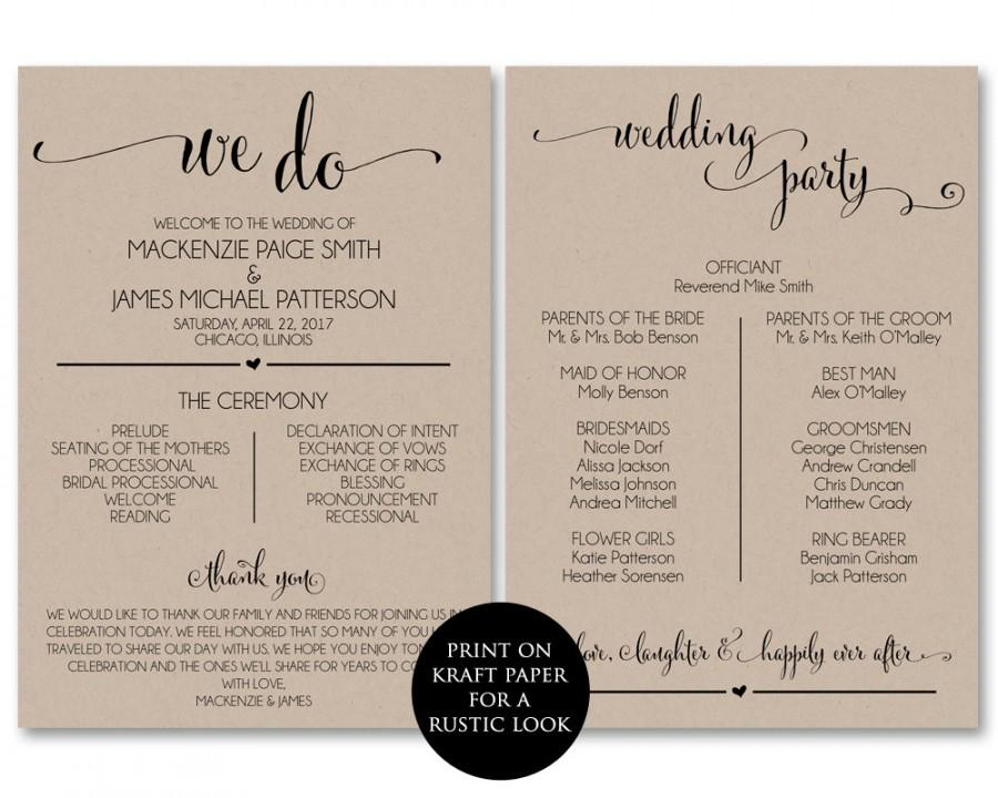 Wedding Program Template, Wedding Program Printable, We Do, Ceremony ...