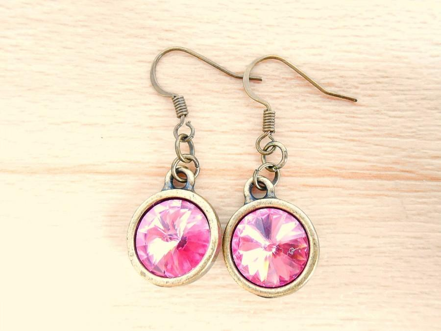 Mariage - Rose Rivoli Earrings - Swarovski Earrings - Bronze Dangle Earrings - Rivoli Jewelry - October Birthstone