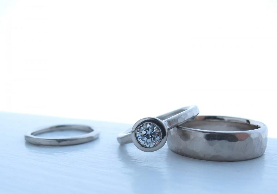 Mariage - Recycled palladium white gold and diamond wedding set, low profile bezel set diamond engagement ring matching wedding bands The Pebble Set