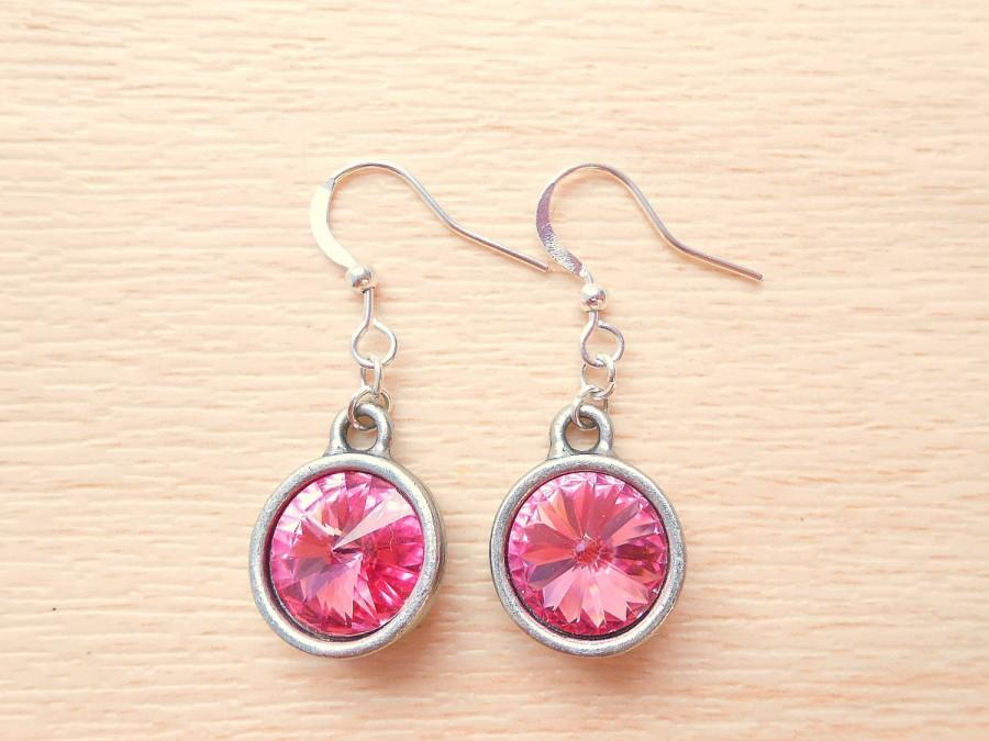 Mariage - Rose Rivoli Earrings - Swarovski Earrings - Silver Dangle Earrings - Rivoli Jewelry - October Birthstone