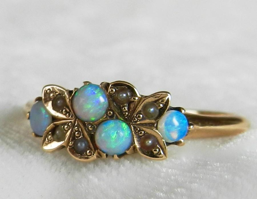 Mariage - Opal Ring Australian Blue Opal Ring 1800s Antique Opal Engagement 14K Victorian Ring Art Nouveau Ring October Birthday