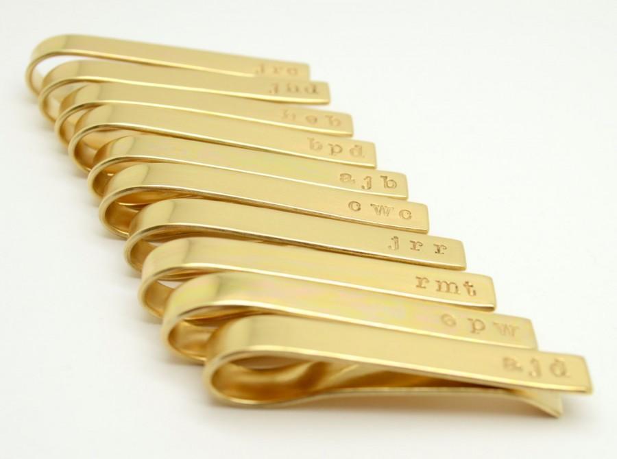 Mariage - Personalized Tie Clip Groomsmen Set, Tie Tack, Tie Bar, Brass, Gold Color, Stamped Tie Bar,Groomsmen Gift, Best Man Gift