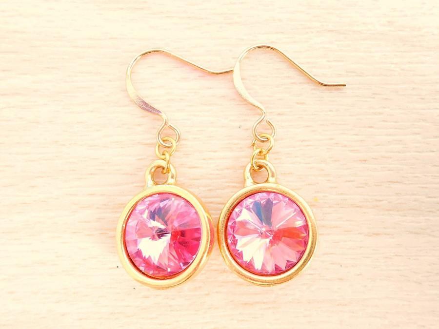 Wedding - Rose Rivoli Earrings - Swarovski Crystal Earrings - Gold Dangle Earrings - Rivoli Jewelry - October Birthstone