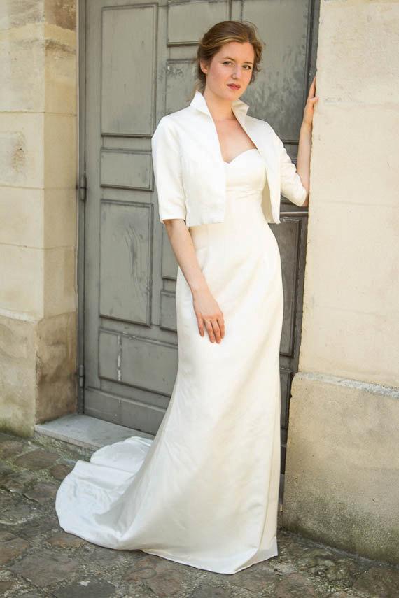 Wedding Dresses Bolero.Wedding Bolero With 3 4 Sleeves Ivory Satin Bridal Shrug