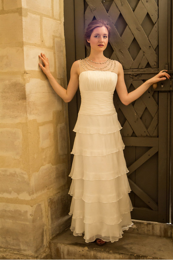Simple Tiered Wedding Dress With Ruffles/ Vintage 1920s Wedding ...