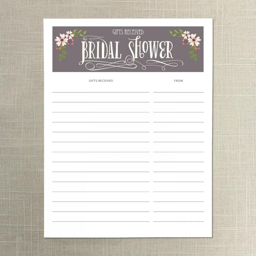 instant download bridal shower gift list gifts received list of received gifts bridesmaid bridal shower wedding shower must have
