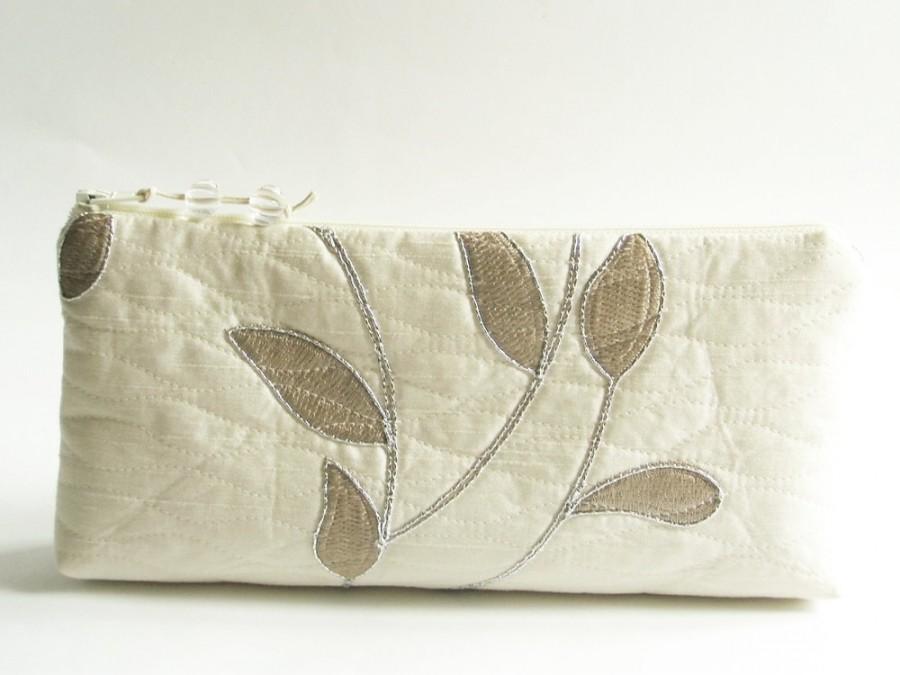 Silver Embroidered Bride Clutch Garden Wedding Purse Ivory Bride