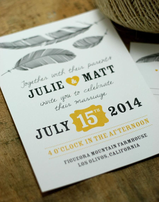 Hochzeit - Feather Wedding Invitation - PRINTABLE