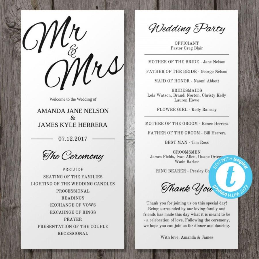 Printable Wedding Program Template Mr & Mrs , Instant Download ...