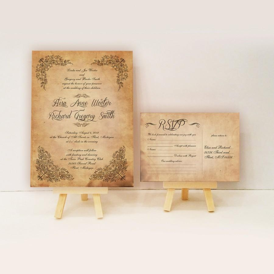 Vintage Wedding Invitations Antique Vintage Invitations Scroll