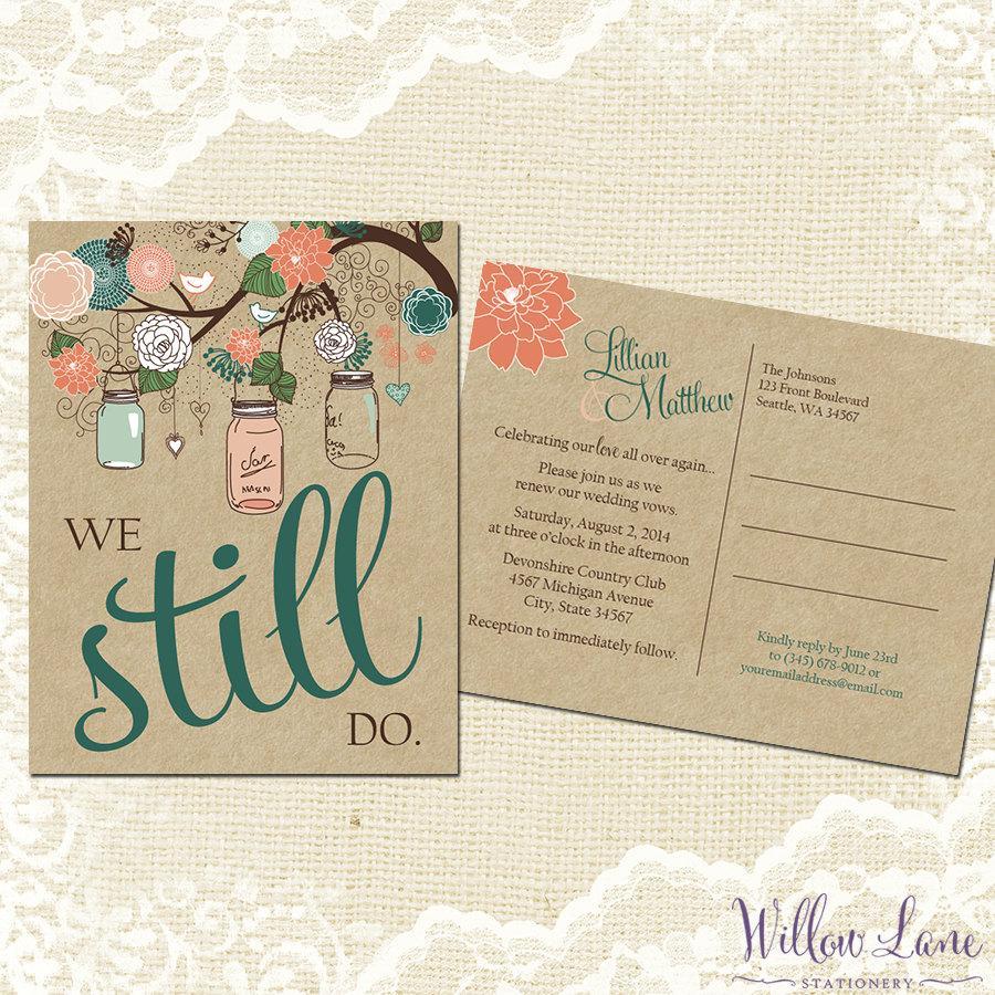 Hochzeit - Vow Renewal Postcard - We Still Do -  Coral Woodland Mason Jar Vow Renewal Invitation - Burlap Mason Jar Vow Renewal Invite -5007 PRINTABLE
