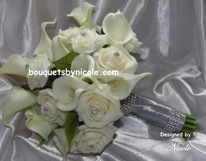 Свадьба - Real Touch Calla lilies and Roses Brooch Bouquet